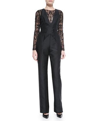 Long-Sleeve Lace-Top Jumpsuit