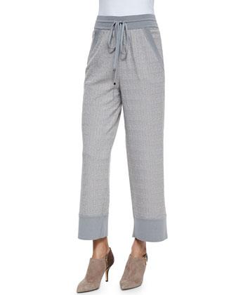 Irregular Wave-Jacquard Drawstring Pants, Light Gray