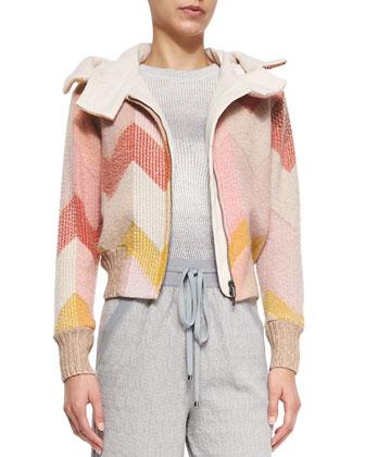 Hooded Signature Zigzag Bomber Jacket, Pink/Yellow