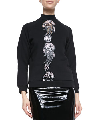 Mock-Neck Sweatshirt with Embroidered Center