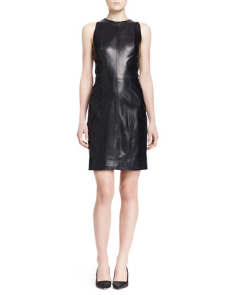 Arlow Sleeveless Lambskin Dress