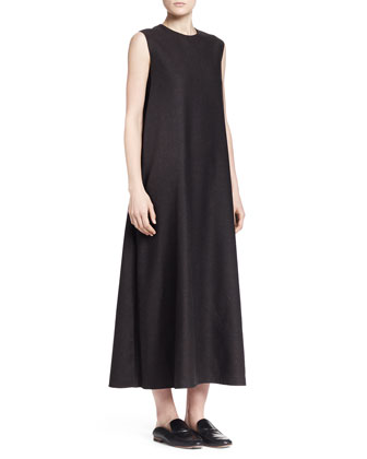 Sleeveless A-Line Melange Midi Dress