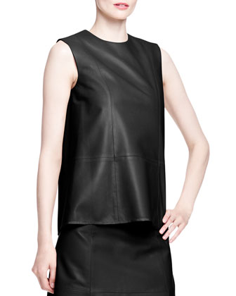 Drapley Sleeveless Leather Top