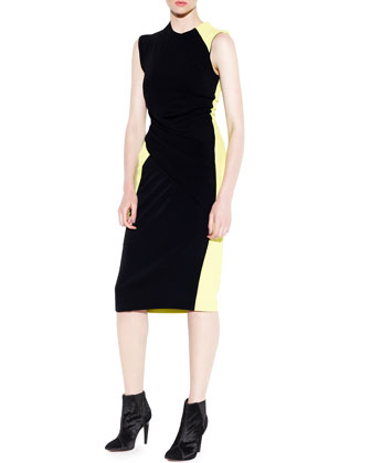 Sleeveless Colorblock Crewneck Sheath Dress
