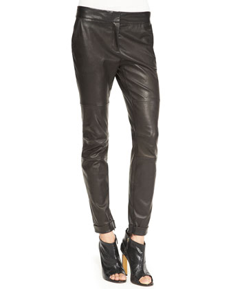 Moto Leather Leggings, Black