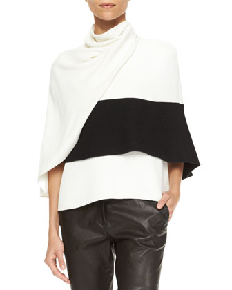 Sleeveless Wrap Top, White/Black