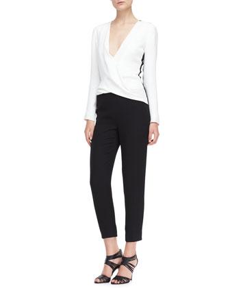 Long-Sleeve Silk Jumpsuit, Ivory/Noir