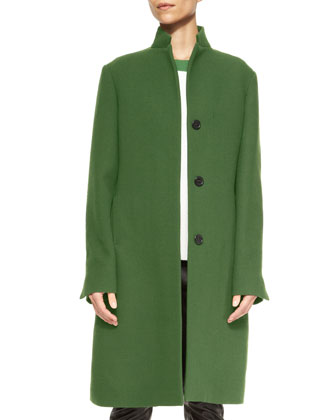 Wool Colorblock Stand-Collar Long Coat