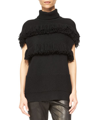 Cashmere Fringe-Detail Turtleneck Sweater