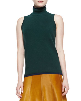 Sleeveless Cashmere-Blend Turtleneck Sweater