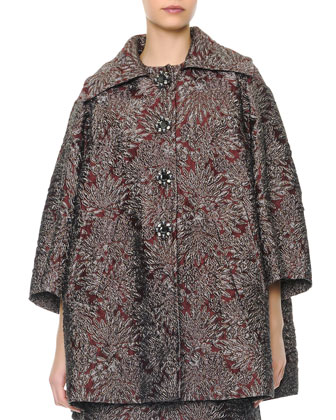 Wide-Collared Crystal-Buttoned Opera Coat