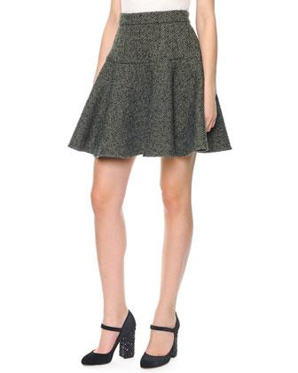 Herringbone Wool Flirty Skirt