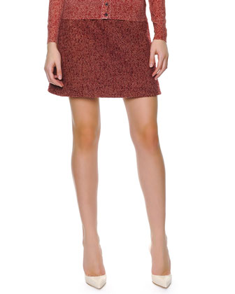 Chevron Wool A-line Skirt