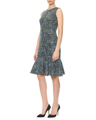 Sleeveless Tweed Flounce Dress