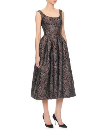 Scoop-Neck Full Skirt Tea-Length Dress