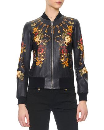 Floral/Key Print Baseball Leather Jacket
