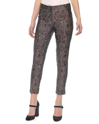Slim Leg Metallic Jacquard Pants