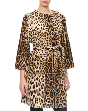 Leopard-Print Cashmere Self-Belt Coat