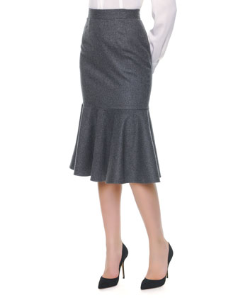 Stretch Wool Long Flounce Skirt