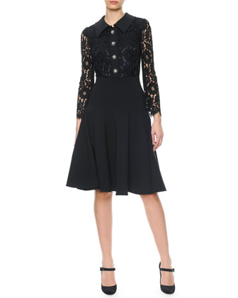 Long Lace-Sleeve Jewel-Button Dress