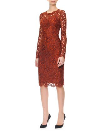 Long-Sleeve Jewel-Neck Lace Dress