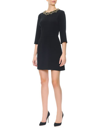 3/4-Sleeve Jeweled-Neck Dress