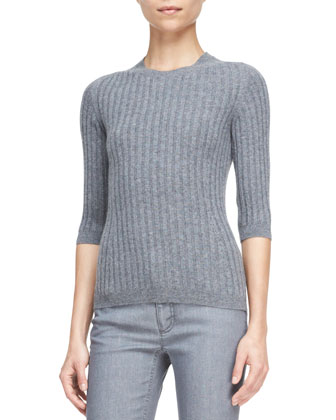 3/4-Sleeve Ribbed Cashmere Sweater