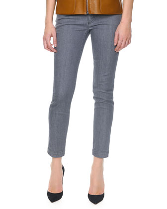 Skinny Ankle Jeans, Gray