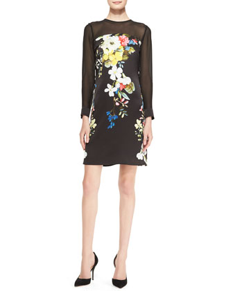 Silk Floral-Print Long-Sleeve Trapeze Dress