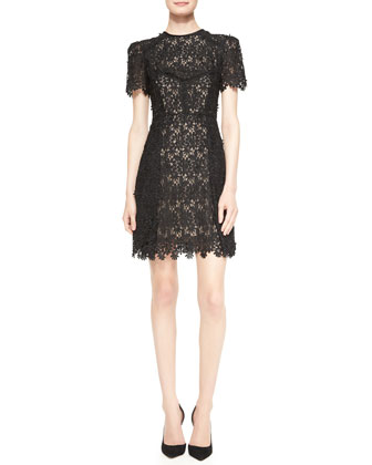 Aubrey Short-Sleeve Lace Mini Dress