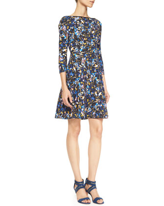 Vivi Printed Jersey 3/4-Sleeve Dress