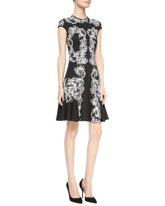 Dana Printed Cap-Sleeve Dress