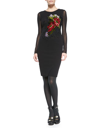 Long-Sleeve Floral-Embroidered Dress, Black