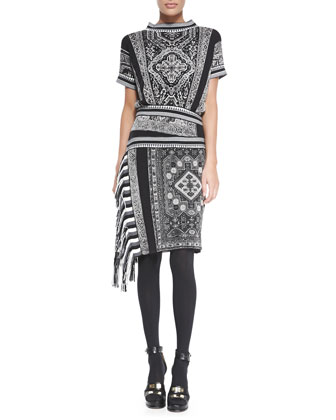 Short-Sleeve Funnel-Neck Dress, Black/White