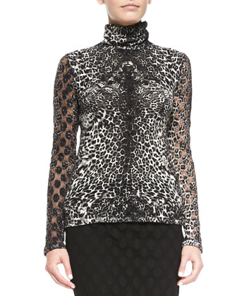 Leopard-Print Top with Dot Texture
