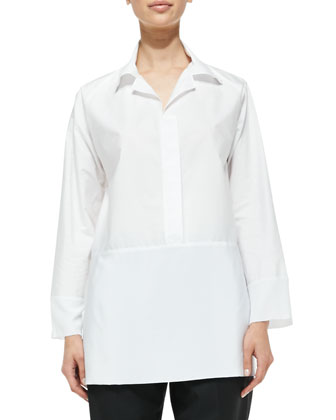 Collared Poplin Blouse, White