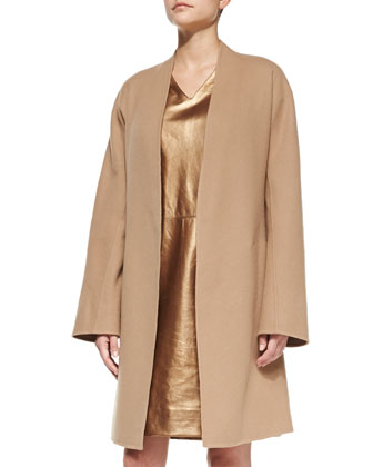 Double-Faced Cardigan Coat, Camel