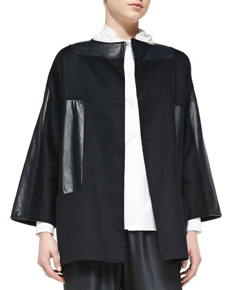 Leather-Patch Wool/Cashmere Jacket