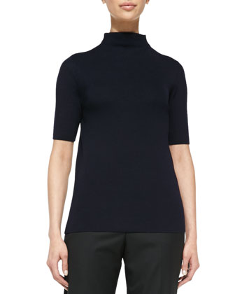 Funnel-Neck Half-Sleeve Cashmere Sweater