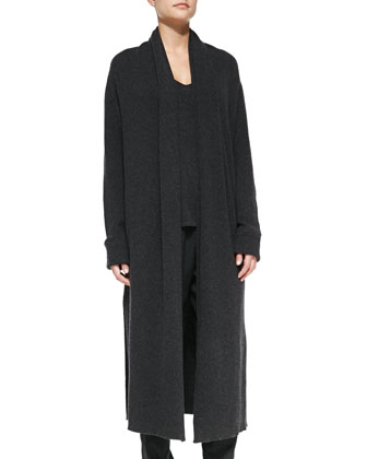 Long Ribbed Cashmere Knit Coat