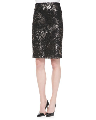 Foiled Lace Straight Skirt