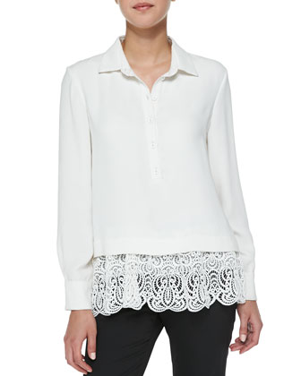 Silk Blouse with Lace Hem, Ivory