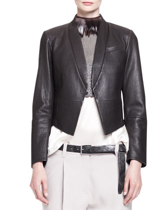 Pebbled Leather Cropped Tux Jacket with Pockets