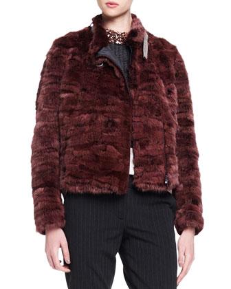 Monili-Collar Striped Mink Fur Jacket