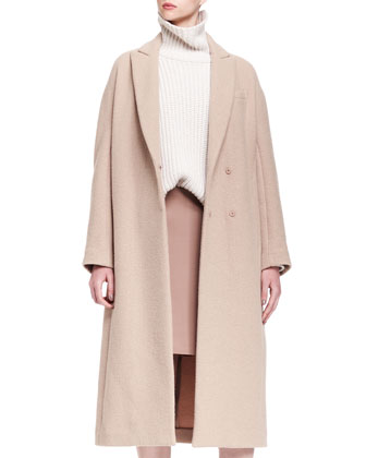 Long Cashmere Dropped-Shoulder Coat