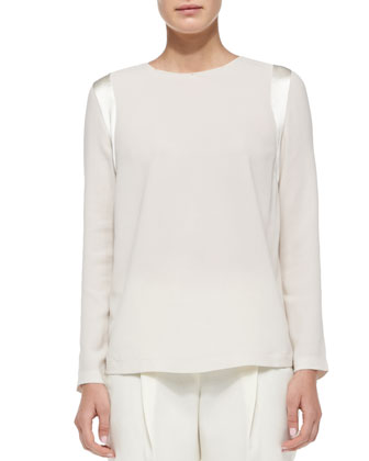 Long-Sleeve Silk Shoulder-Detail Top