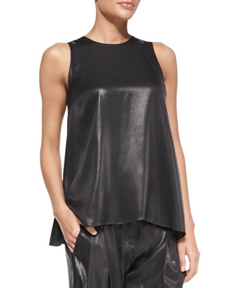 Sleeveless Lam?? Trapeze Top