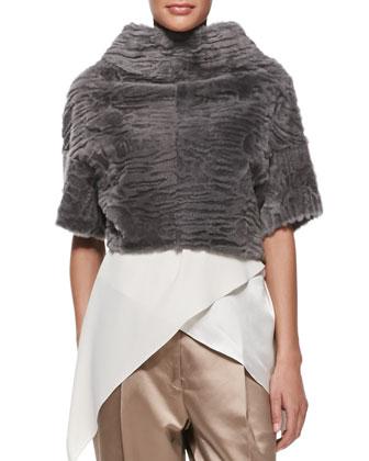 Marbled Shearling Fur Back-Zip Crop Jacket