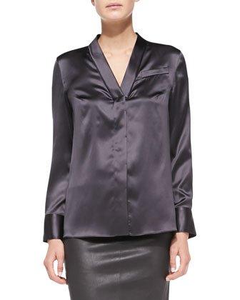 Long-Sleeve Satin V-Neck Blouse