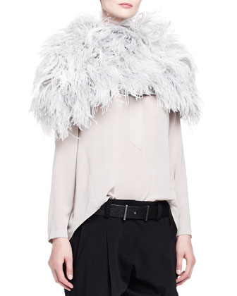 Ostrich Feather Knit Capelet